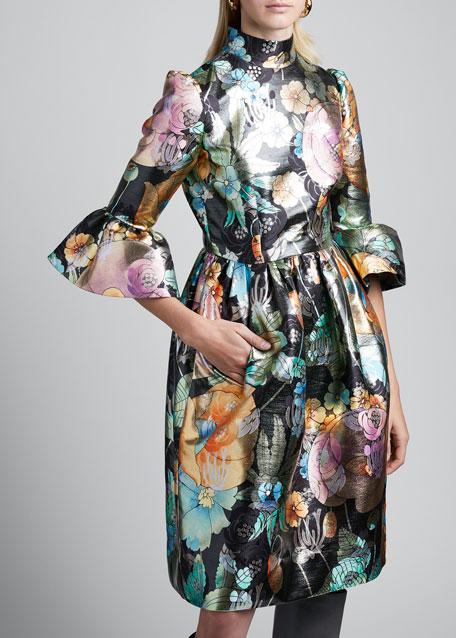 Flared Brocade Flare-Sleeve Dress