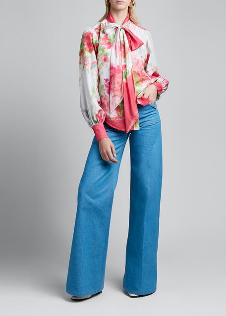 Watercolor Silk Bow-Neck Blouse
