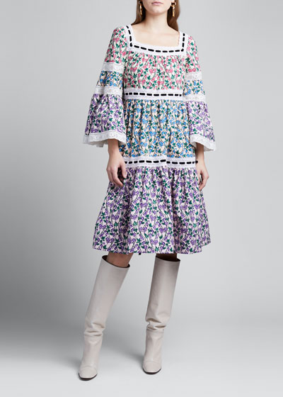 Floral Colorblock Tiered Prairie Dress