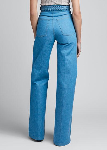 Braided-Waist Flared Jeans