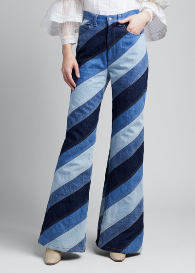 Striped Patchwork Flare Jeans