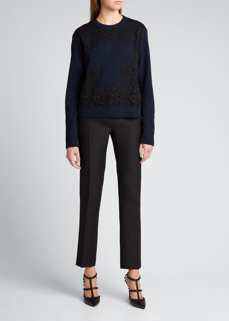 Image 1 of 1: Floral Lace Ribbed Wool-Cashmere Sweater