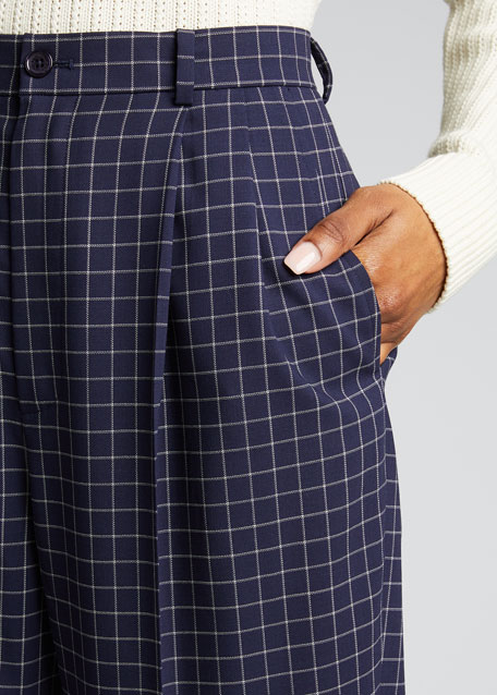 Andela Checked Wool Straight-Leg Pants