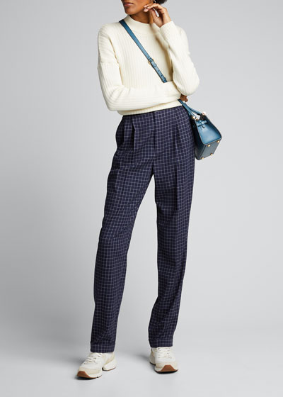 Andela Checked Wool Straight-Leg Pants