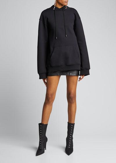 Draped-Back Hoodie Sweatshirt