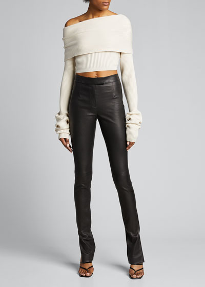 Draped Wool-Silk Sweater