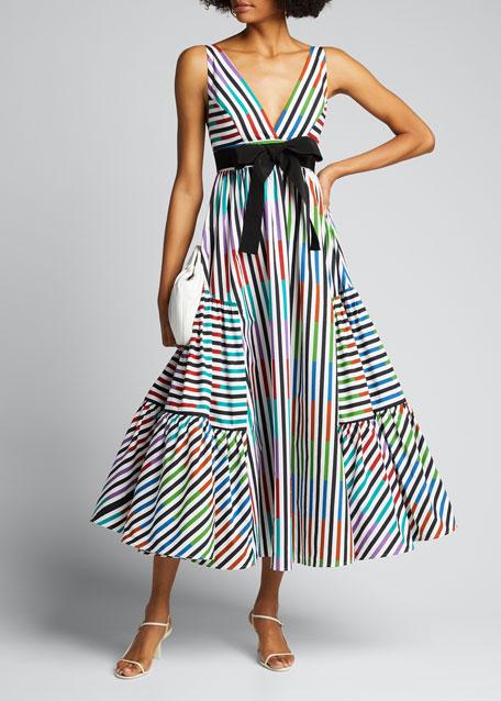 Colorblock Striped Poplin Bow-Waist Dress