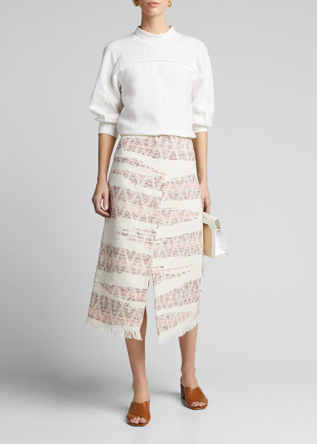 Image 1 of 1: Valentina Ikat-Striped Cotton Wrapped Skirt