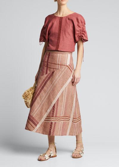Erendira Embroidered Linen Skirt