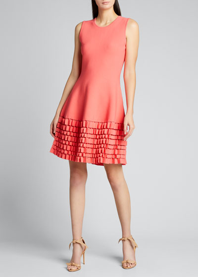 Sleeveless Pleated Hem Flare Dress