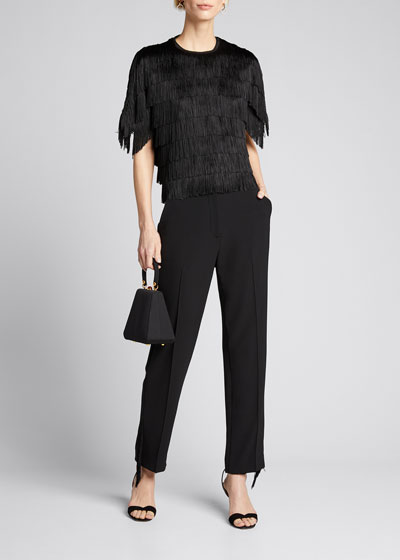 Embroidered Fringe Fluid Crepe High-Waist Pants