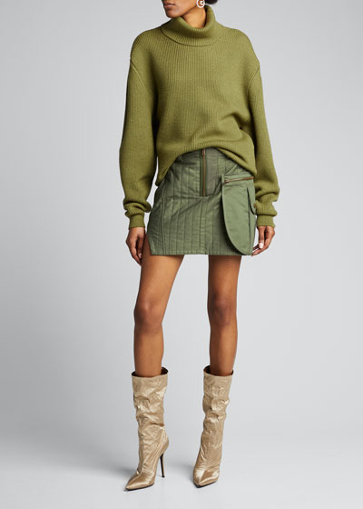 Quilted Cotton Mini Skirt