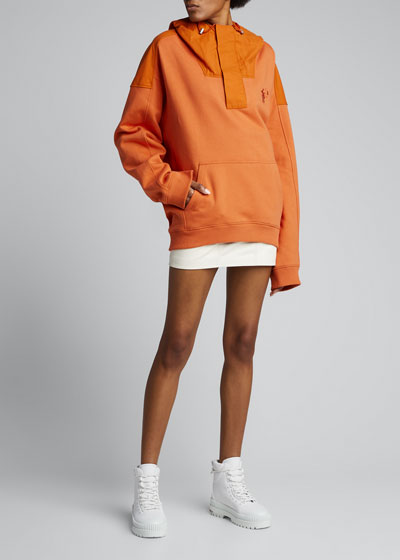 Oversized Cotton Half-Zip Hoodie