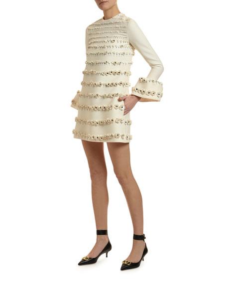 Floral Beaded Bell-Cuff Mini Dress