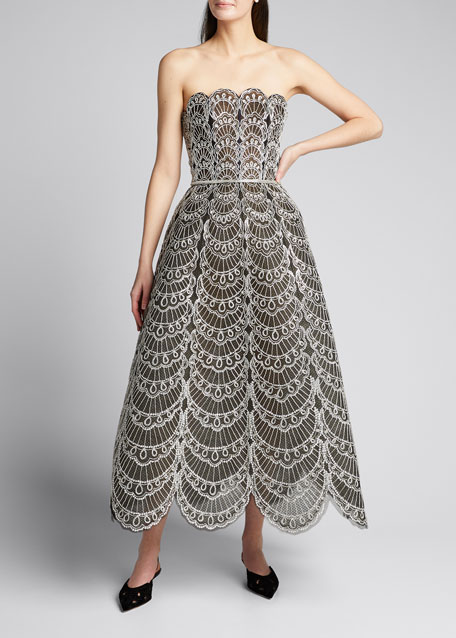 Image 1 of 1: Scallop Embroidered Strapless T-Length Dress