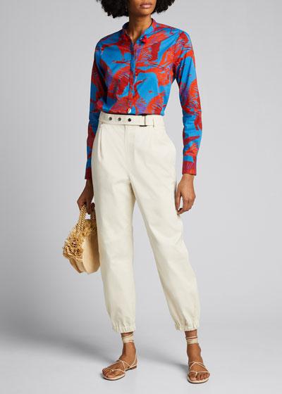Paolina Short-Sleeve Floral Print Shirt