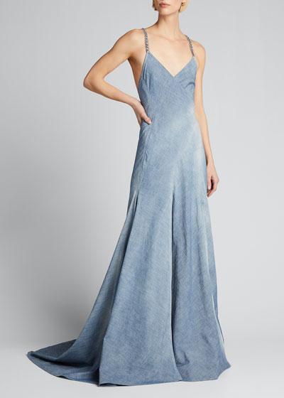Fernanda Chambray Wrapped Evening Dress