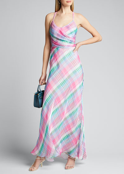 Devin Plaid Long Evening Dress