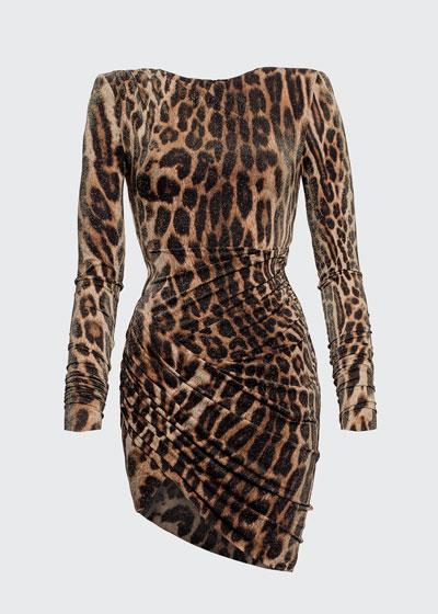 Leopard-Print Ruched Asymmetric Dress