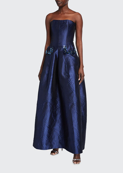 Couplet Strapless Jacquard Gown
