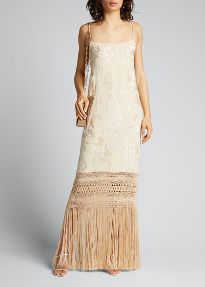 Palm Gold Embroidered Silk Dress w/ Fringe Hem