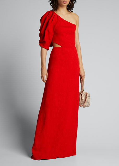 Image 1 of 1: Lava Shimmering Blush One-Shoulder Cutout-Side Dress