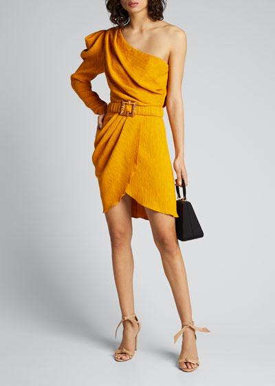 Shining Sun One-Shoulder Belted Wrap Dress
