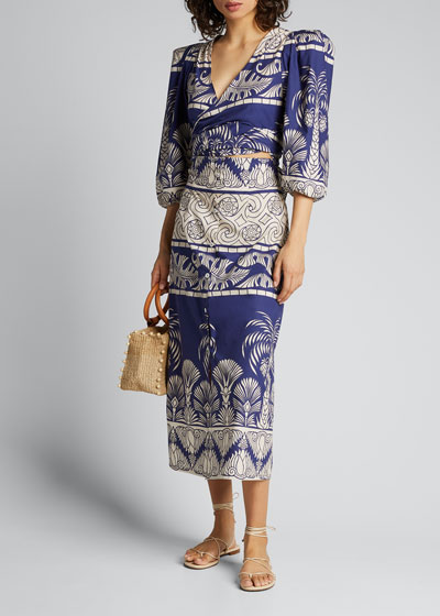 Any Route Goes Palm Print Dress