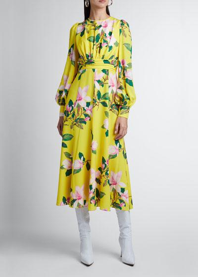 Floral-Print Blouson-Sleeve Midi Dress