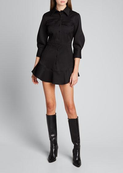 Button-Down Mini Flutter Dress