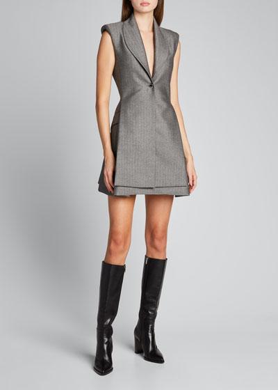 Herringbone Wool Mini Vest Dress