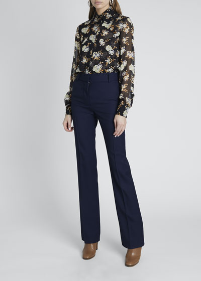 Floral Print Club Collar Fitted Button-Down Shirt