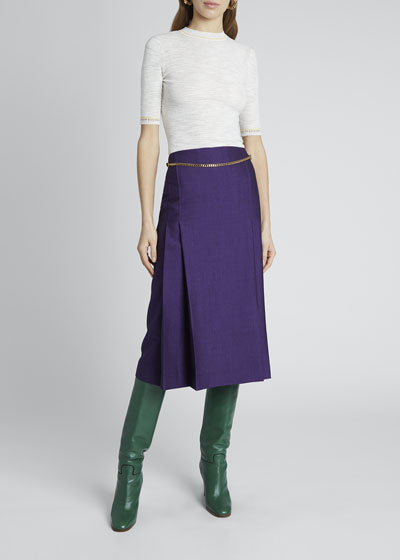 Wool-Blend Skirt w/ Chain
