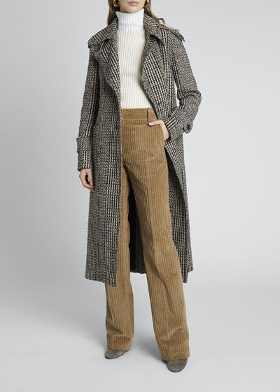 Multi Tweed Fitted Trench Coat