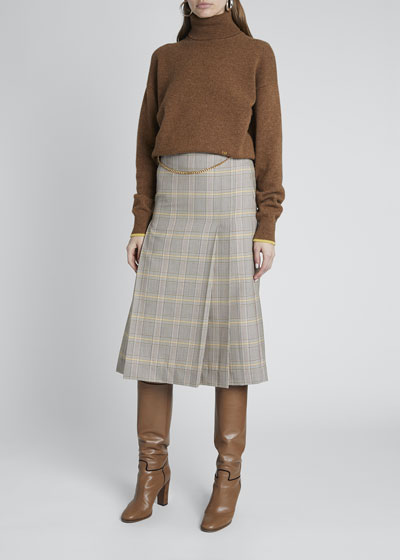 Wool Check Belt Detail Skirt