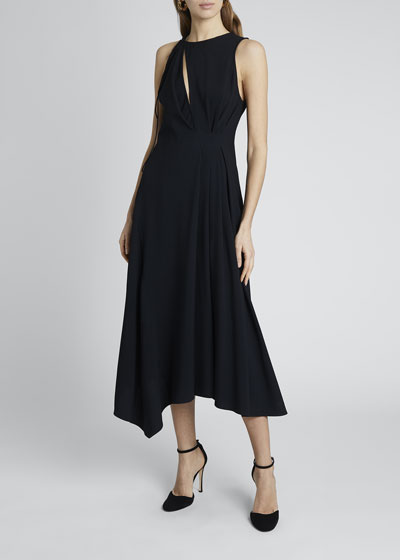 Front Slit Sleeveless Midi Dress