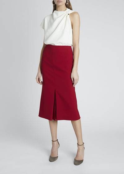 Crepe Pleat Midi Skirt