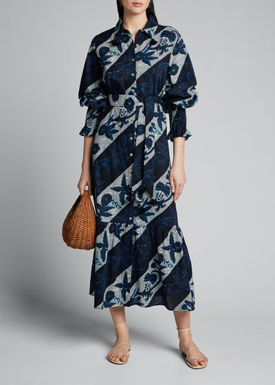 Indiana Floral-Striped Full-Sleeve Shirtdress
