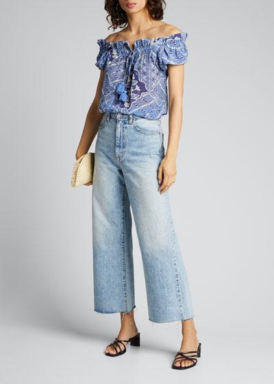 Gianna Vintage-Print Off-the-Shoulder Blouse