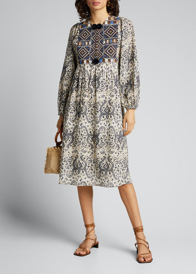 Lucie Mosaic-Embroidered Voile Dress