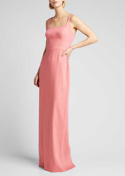 Stretch Viscose Square-Neck Gown