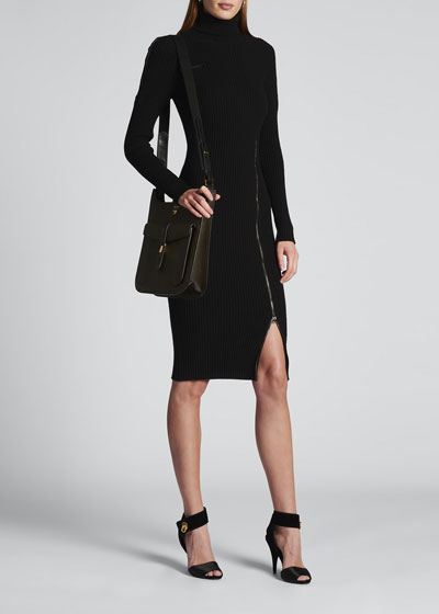 Front Zip Long-Sleeve Turtleneck Dress