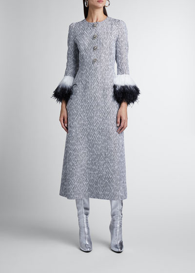 Feather-Sleeve Button-Front Midi Dress