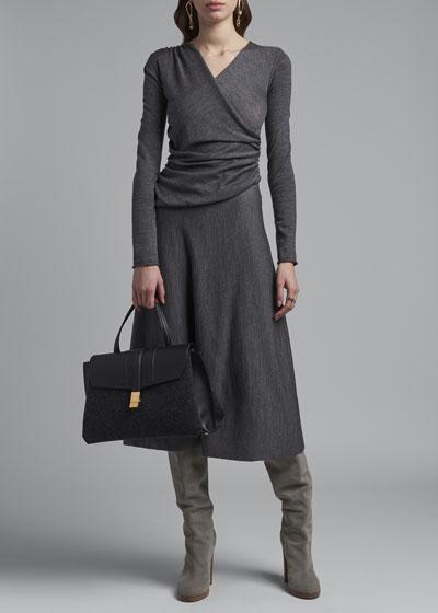 Side-Ruched Midi Dress