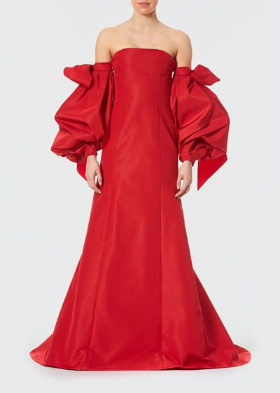 Detachable Puff-Sleeve Silk Gown