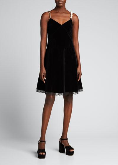 Velvet Jeweled Strap A-Line Dress