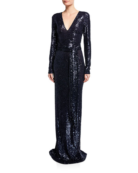 Image 1 of 1: Long-Sleeve V-Neck Gown