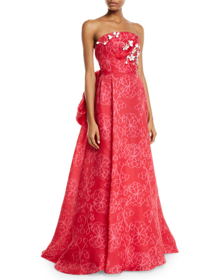 Image 1 of 1: Strapless Floral-Embroidered Tie-Back Gown