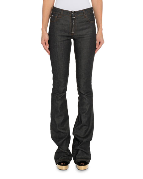 Image 1 of 1: Zip-Front Flare Jeans