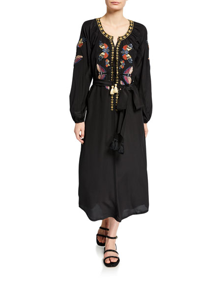 Image 1 of 1: Lana Butterfly-Embroidered Dress